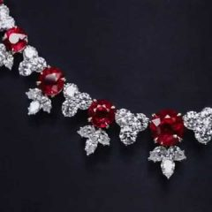 Ruby And Diamond Cluster Necklaces
