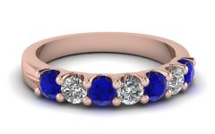 Blue Sapphire And Diamond Seven Stone Wedding Bands In 14K Gold