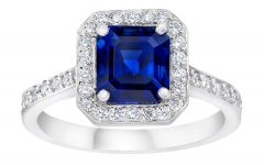 Blue Square Sparkle Halo Rings