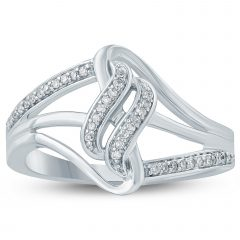 Diamond Wave Vintage-Style Anniversary Bands In 10K White Gold
