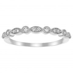 Diamond Art Deco Vintage-Style Anniversary Bands In 10K Gold