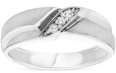 Diamond Three Stone Slant Wedding Bands in 10k White Gold