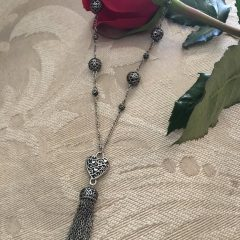 Ornate Hearts Tassel Necklaces