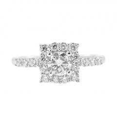 Sparkling Square Halo Rings