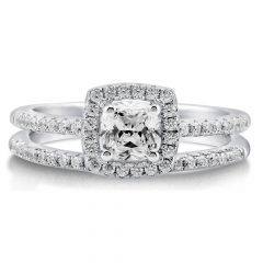 Halo Diamond Wedding Band Sets
