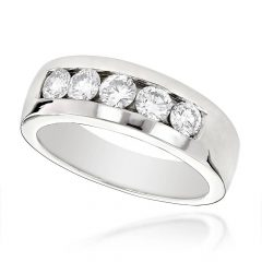 Mens 5 Diamond Wedding Bands