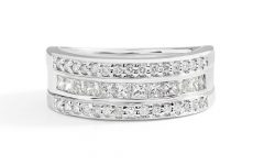 Princess-cut and Round Diamond Three Row Anniversary Bands in White Gold