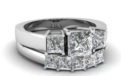 Princess-cut Diamond Three Stone Anniversary Bands in White Gold