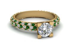 Emerald and Diamond Three Row Reversible Anniversary Bands in 14k Gold