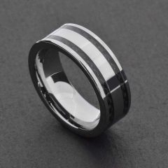Black And Silver Mens Wedding Rings