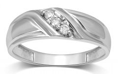 Diamond Slant Anniversary Bands in White Gold