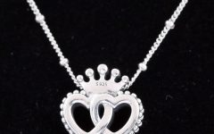 Crown & Interwined Hearts Pendant Necklaces