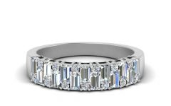 Baguette and Round Diamond Anniversary Bands in White Gold