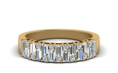Round and Baguette Diamond Vintage-style Anniversary Bands in White Gold