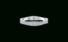 Wave Diamond Wedding Bands With Pavé