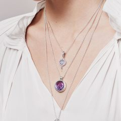 Faceted Locket Dangle Charm, Synthetic Amethyst Necklaces