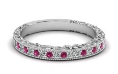Pink Sapphire Diamond Wedding Bands