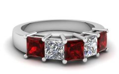 Ruby and Diamond Anniversary Rings