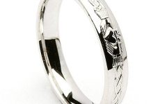 Mens White Gold Claddagh Wedding Bands
