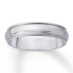 White Gold Milgrain Wedding Bands