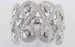 Diamond Cluster Wide Anniversary Bands in White Gold
