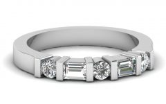 Round and Baguette Diamond Anniversary Bands in 14k White Gold